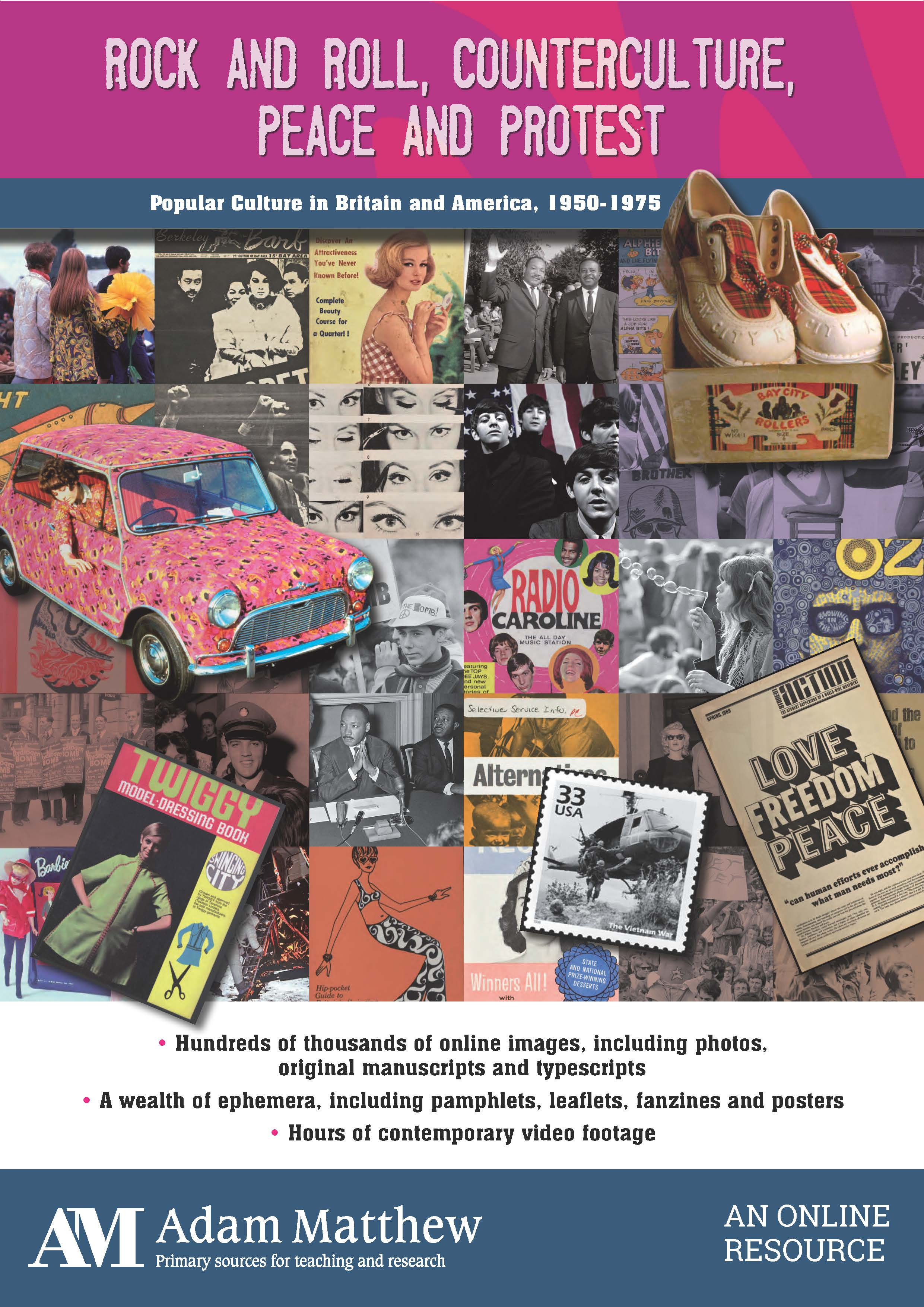 Collage of images from 1950-1975 including the Beatles, Martin Luther King Jr. and Twiggy among others