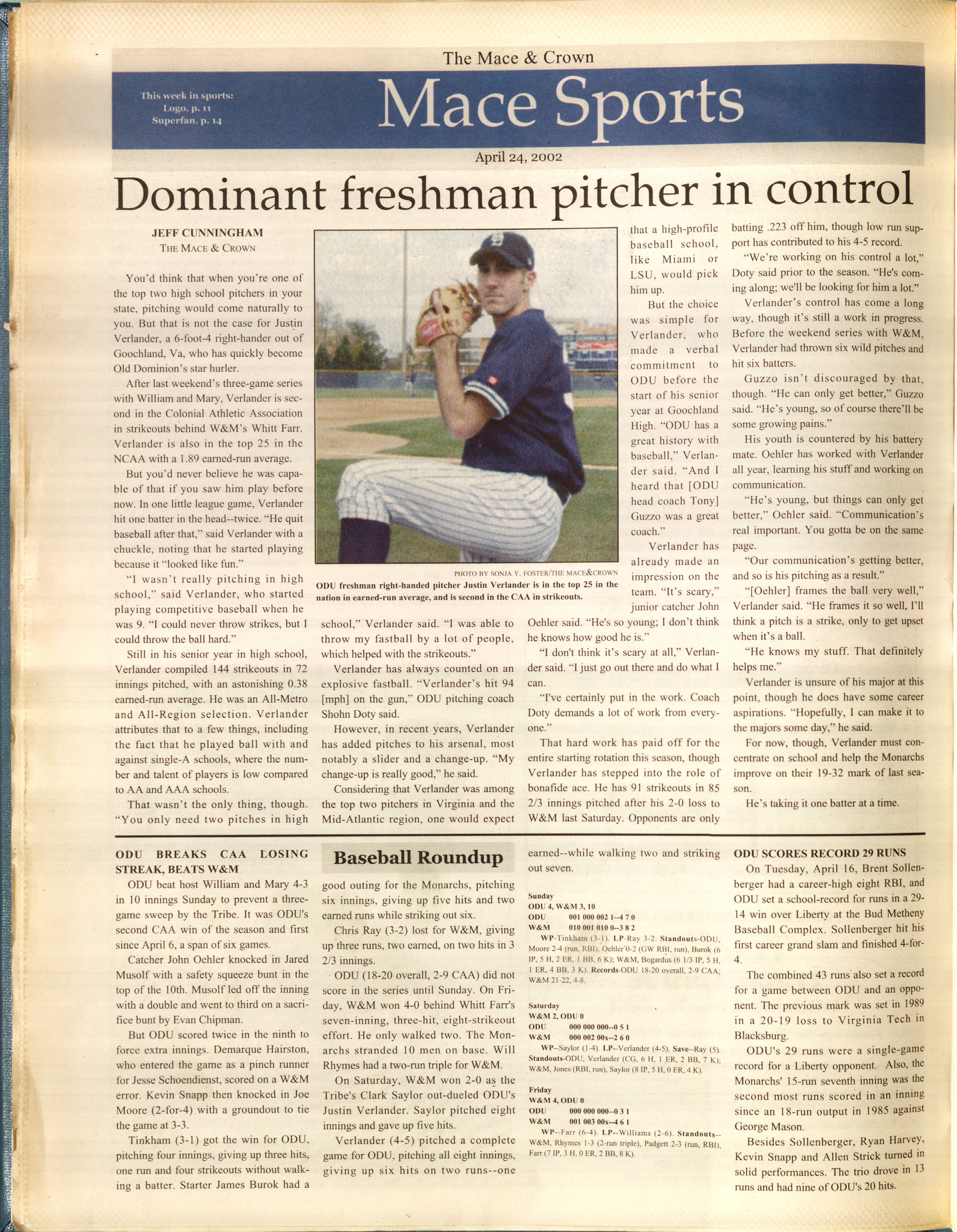 Mace & Crown Article featuring Justin Verlander, 2002