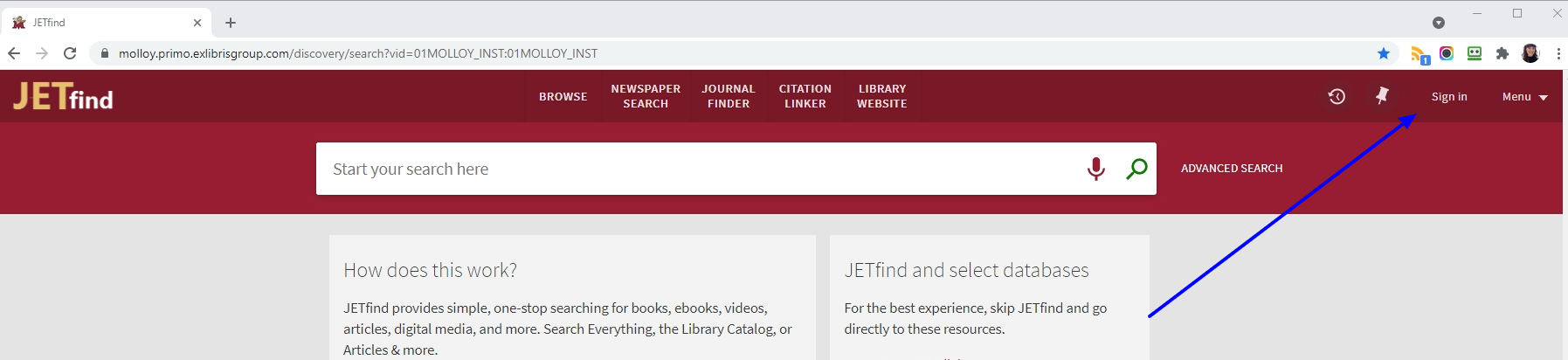 screenshot of main jetfind page with sign in to account link