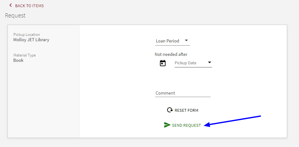 screenshot of place hold request form