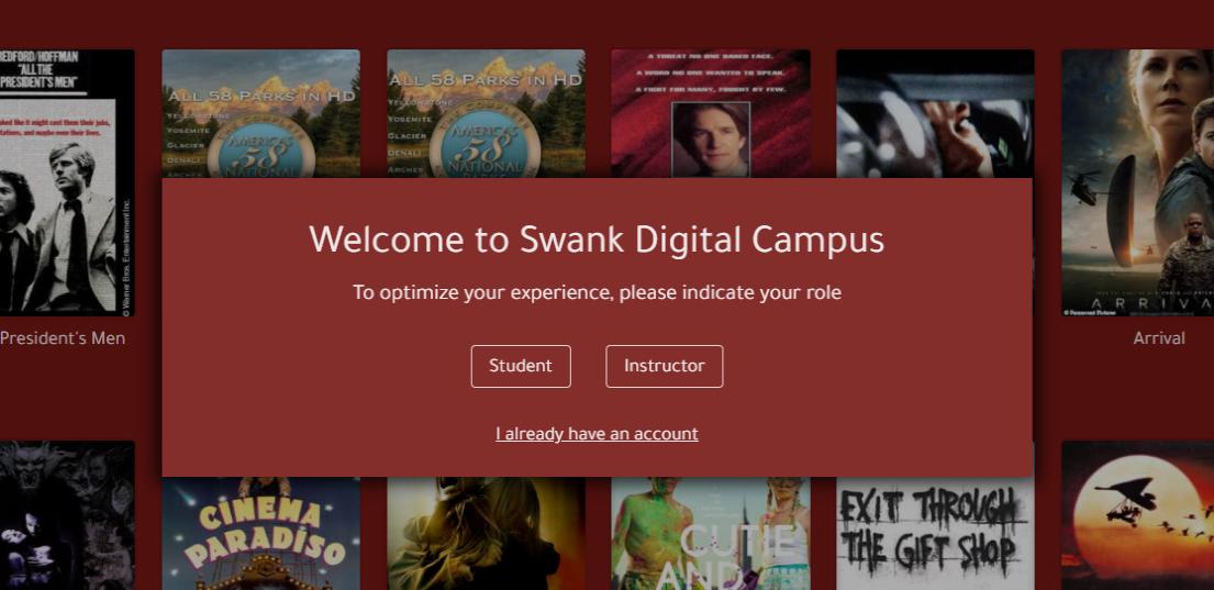 Swank login screen