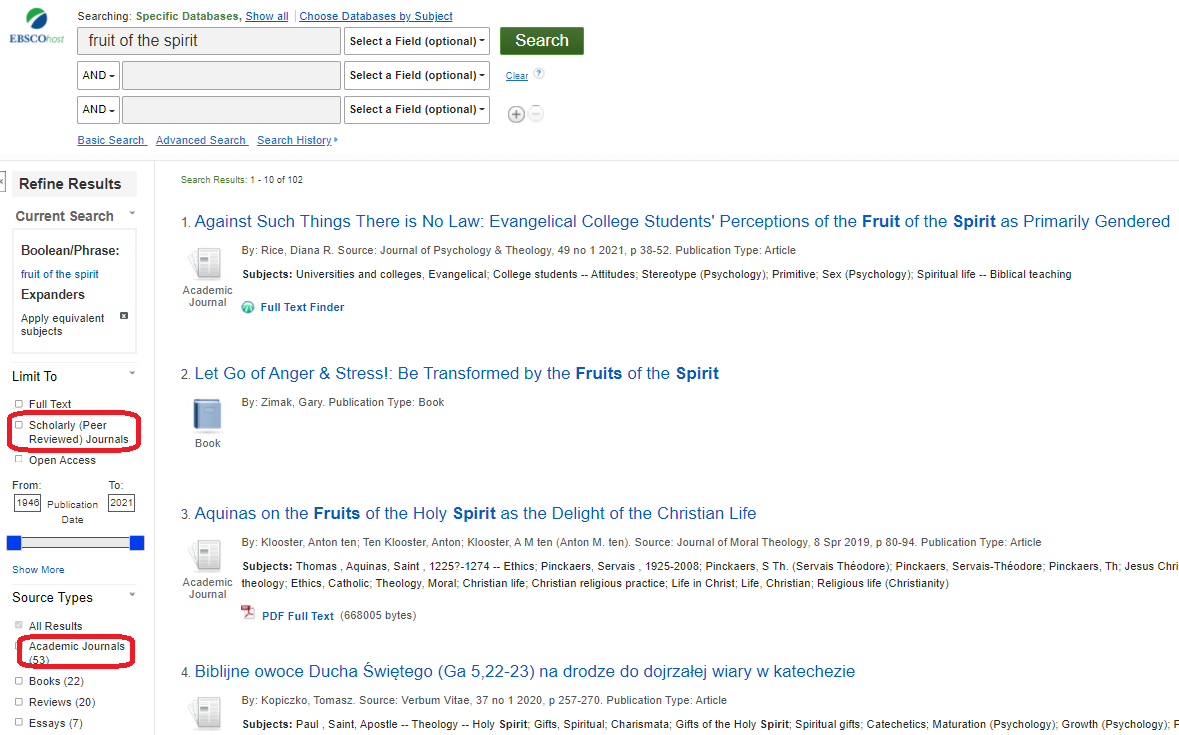 EBSCO search results screen showing scholarly and academic journal limiters to the left of the results list.