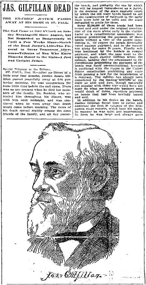 "Minneapolis Tribune December 17, 1894 - Headline ""Jas. Gilfillan Dead"""