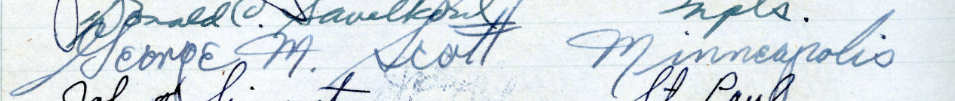 George M. Scott's signature in the Roll of Attorneys