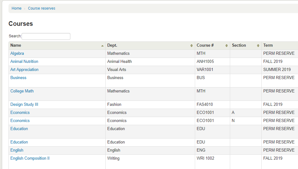 Screenshot of Course Reserves List in Library Catalog