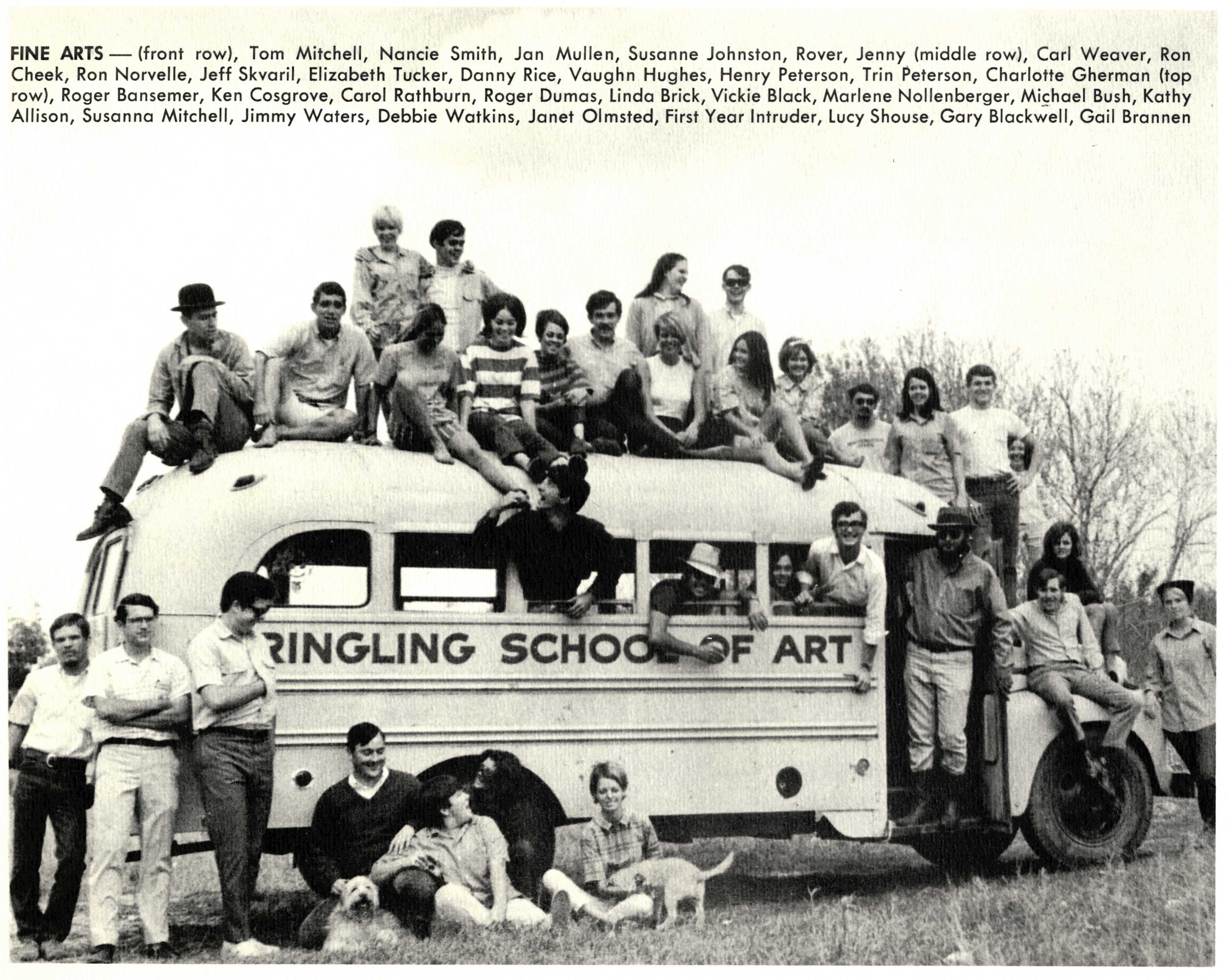 Fine Arts students on and around school bus, 1970