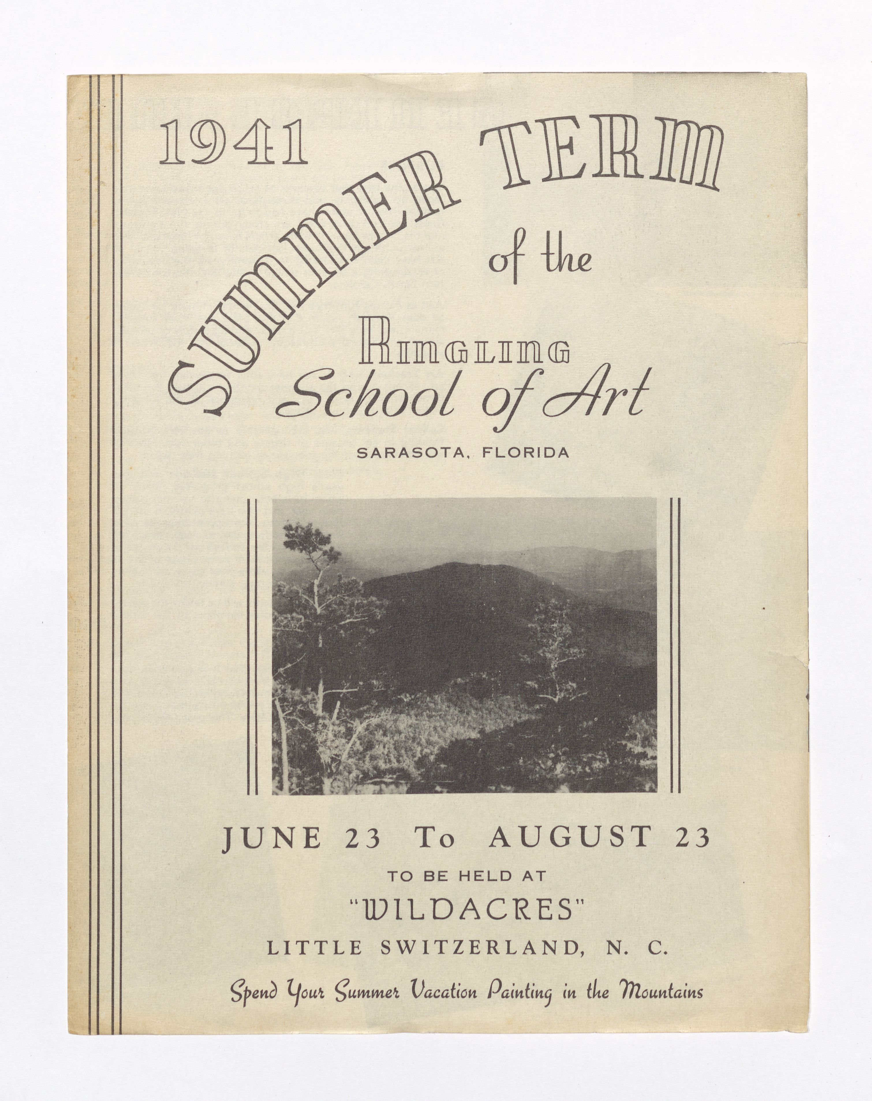 Cover image of promotional program for Ringling School of Art's Wildacres summer term 1941