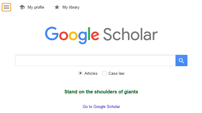 Finding Full Text - Google Scholar menu