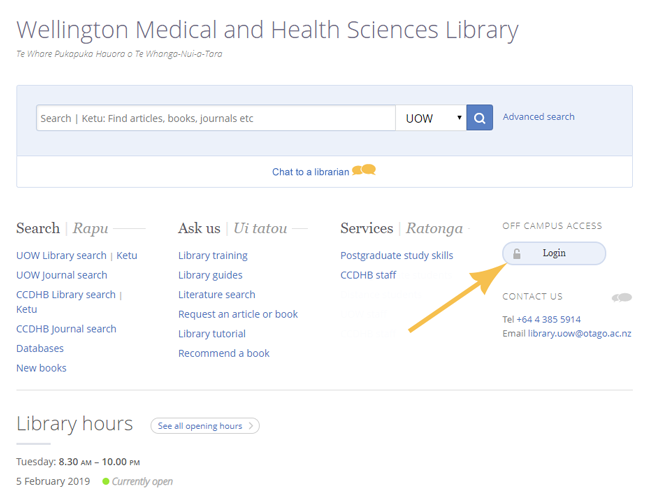 Wellington Medical Library home page