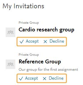 Mendeley - Accept group invite