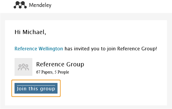Mendeley - Join group invite