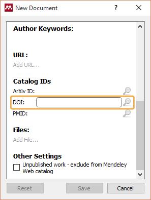 Mendeley - Add manual entry, DOI field