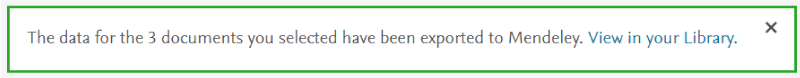 Mendeley - Scopus export confirmation message