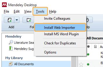 Mendeley - Tools menu