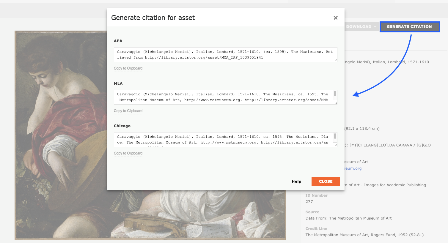 Screen shot from Artstor showing where the Generate Citation button for an image is located and what the citations for each citation style look like when the button is clicked.