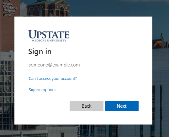 Sign in using your full Upstate email address