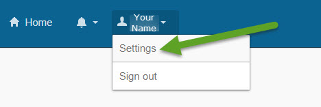 CGTC single sign on homepage. An arrow is pointing to settings on the menu.