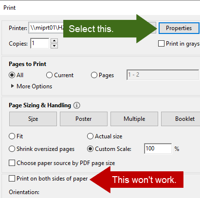 Select Properties then Print on Both Sides and None