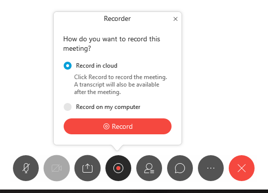 Image of the Webex recorder button.