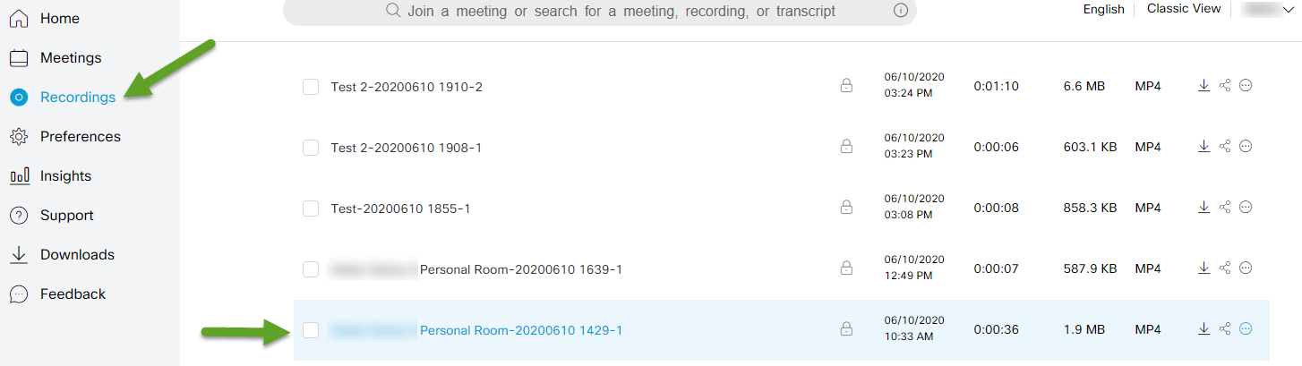 Recording menu. An arrow is pointing to recordings. Another arrow is pointing to the meeting that needs to be edited.