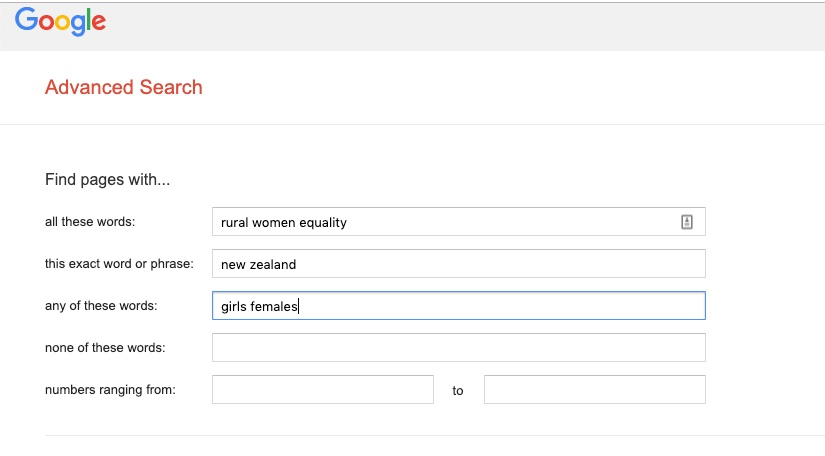 Sample Google Advanced Search Gender Equality & empowerment of rural women and girls