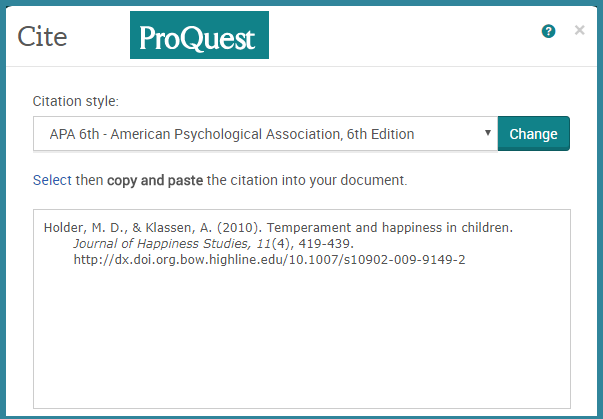 Citing tool in Proquest database