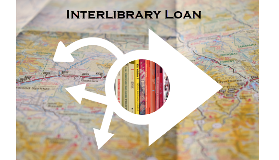 Interlibrary loan image with map and arrows