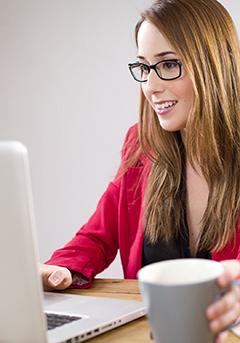 Woman looking at the computer