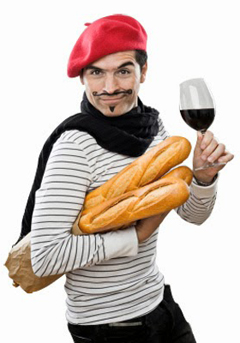 French man with wine and baugette