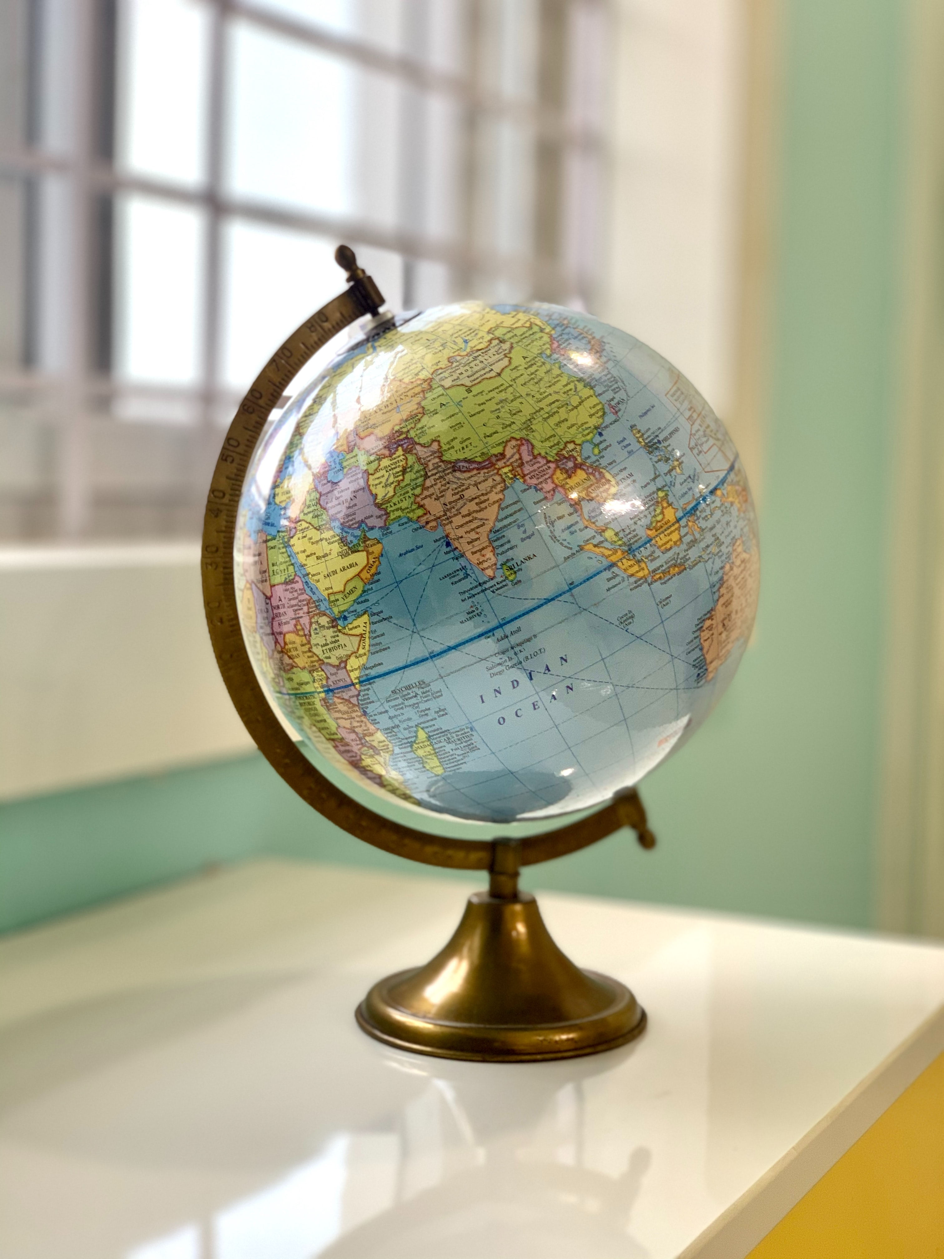 Globe sitting on a table