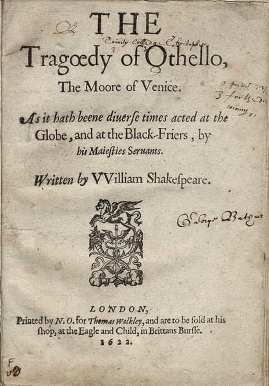 The title page for Othello from a Shakespearean folio.