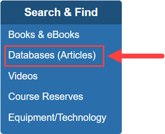 Search & Find box on library website with Databases (Articles) in a red box with a red arrow pointing to it.