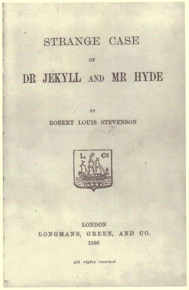 """Title page of the book """"The Strange Case of Dr. Jekyll and Mr. Hyde"""""""