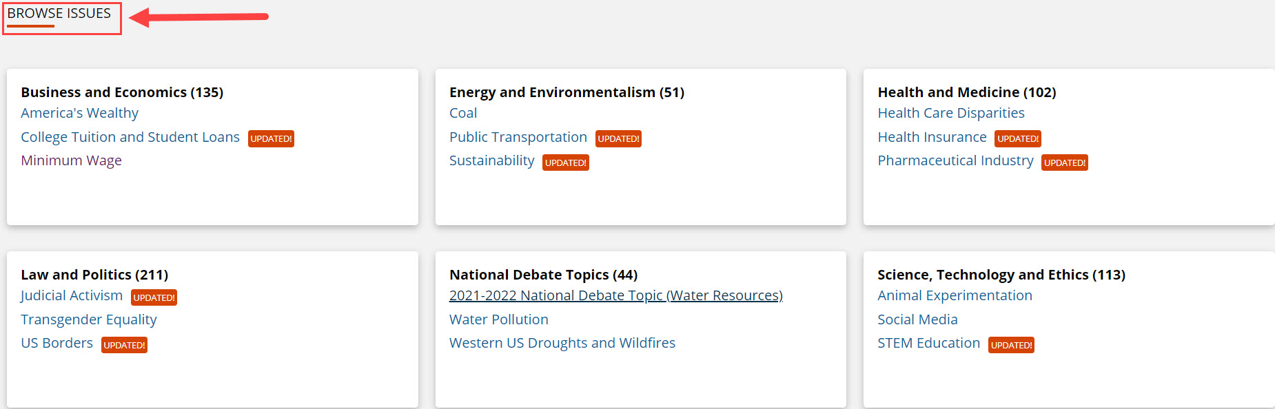 Browse Subjects in Opposing Viewpoints with a red box around it and a red arrow pointing to it.