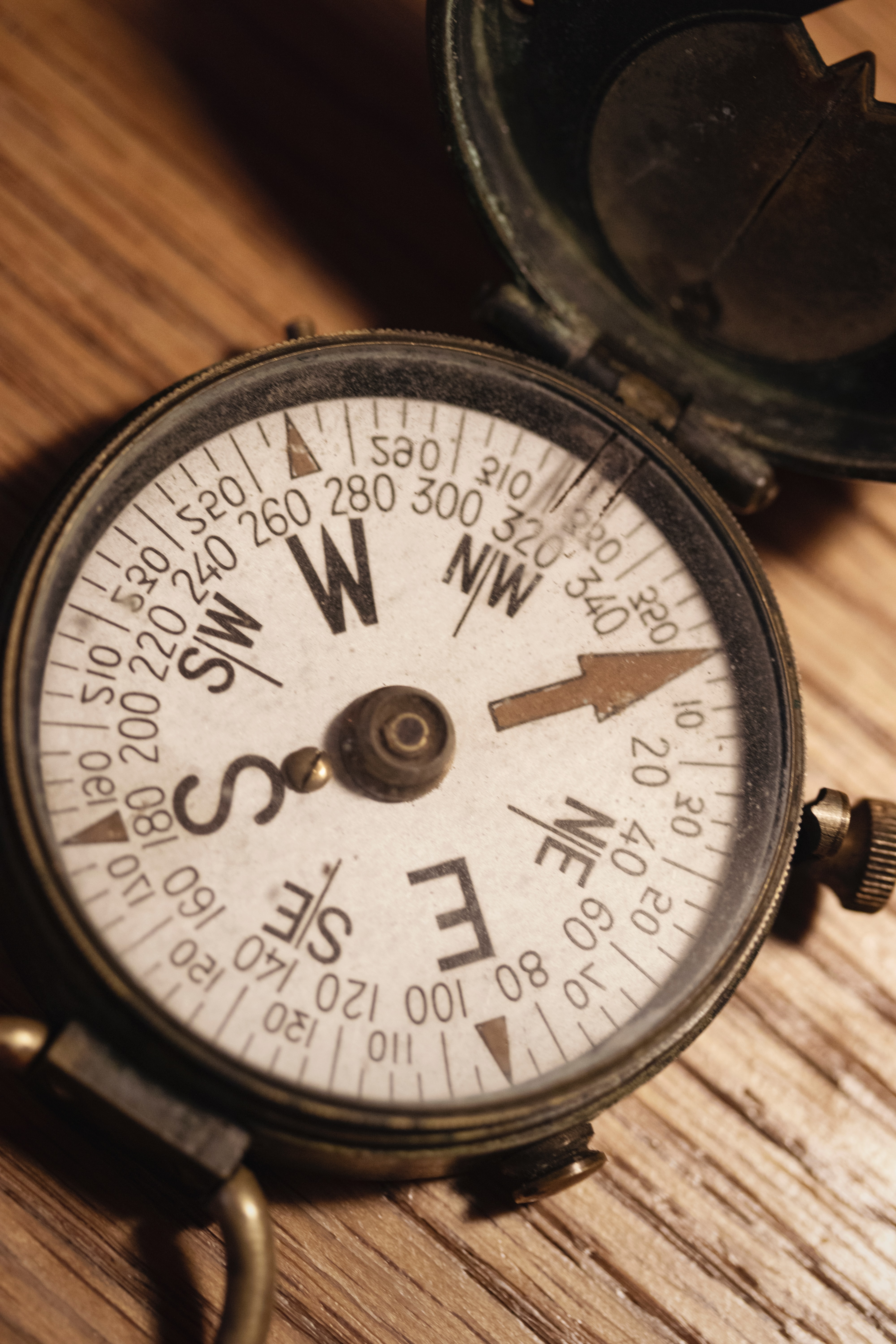 Compass on a table