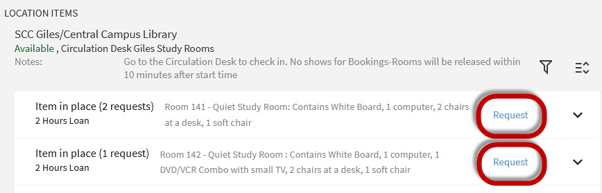 click request for the room desired