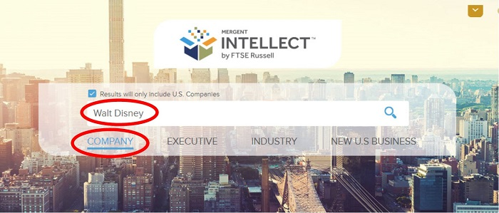 Company search box in Mergent Intellect