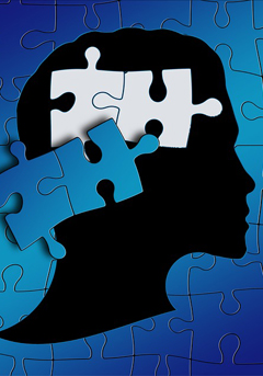image of puzzle pieces and a person's brain
