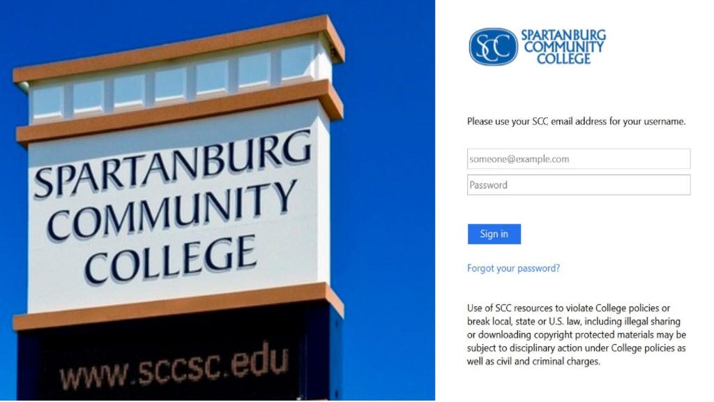 SCC Portal login page