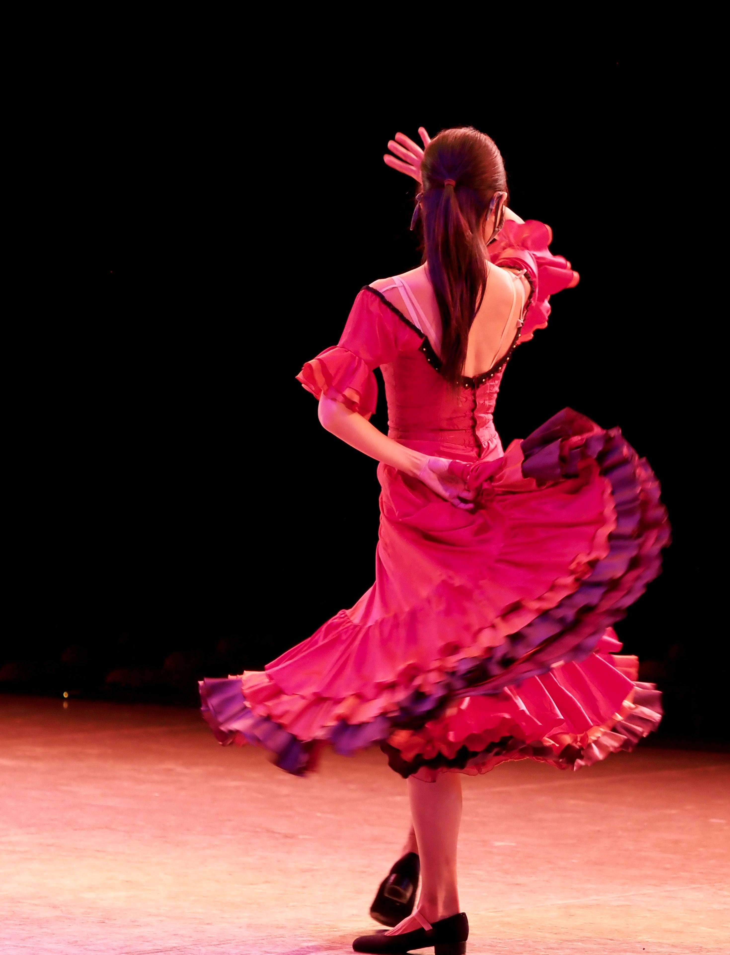 Flamenco dancer dancing on stage