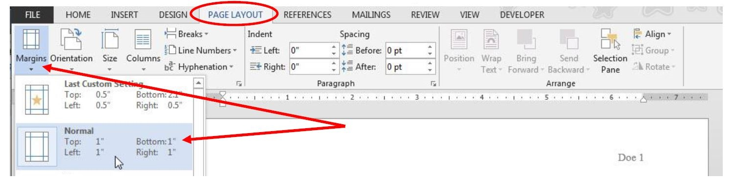 "Image of Microsoft Word's ""page layout"" tab with ""margins"" selected and ""Normal"" (1"" on all sides)."
