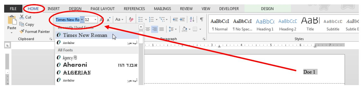 "Image of Microsoft Word's ""Home"" tab with ""Times New Roman"" and size 12 selected"