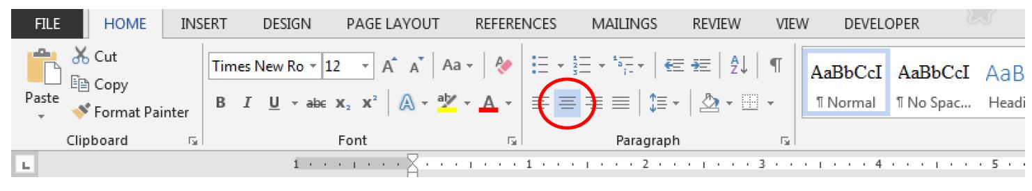 "Image of Microsoft Word's home tab with the ""center"" button selected"