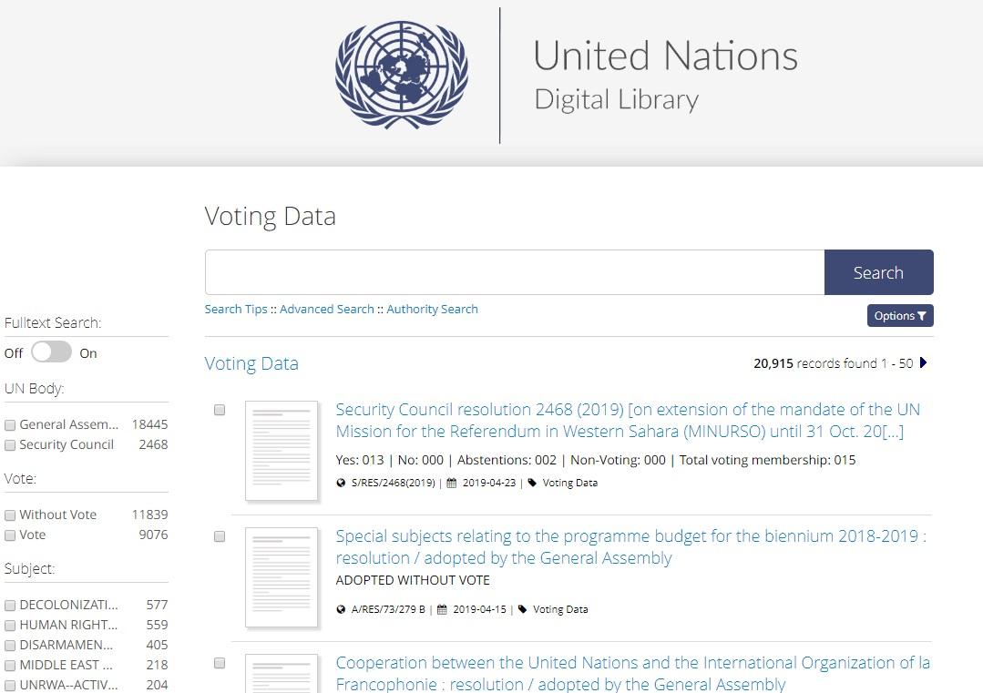 联合国数字图书馆投票页面
