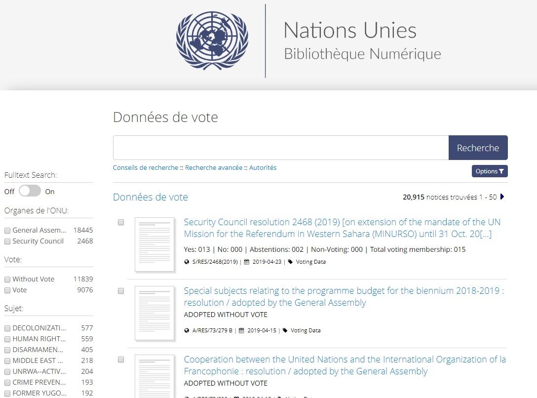 Vue de la recherche de données de vote de la BIbliothèque numérique des Nations UNies