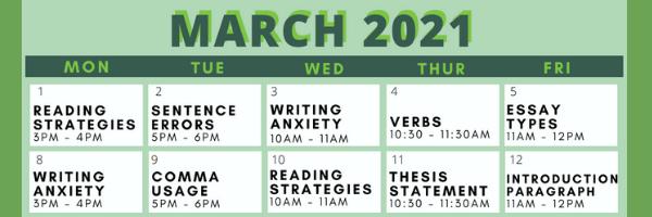 Writing Center Spring Workshop Schedule