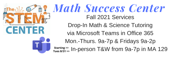 STEM Center Fall Hours M-Th 9-7 Fri 9-2 In person TW