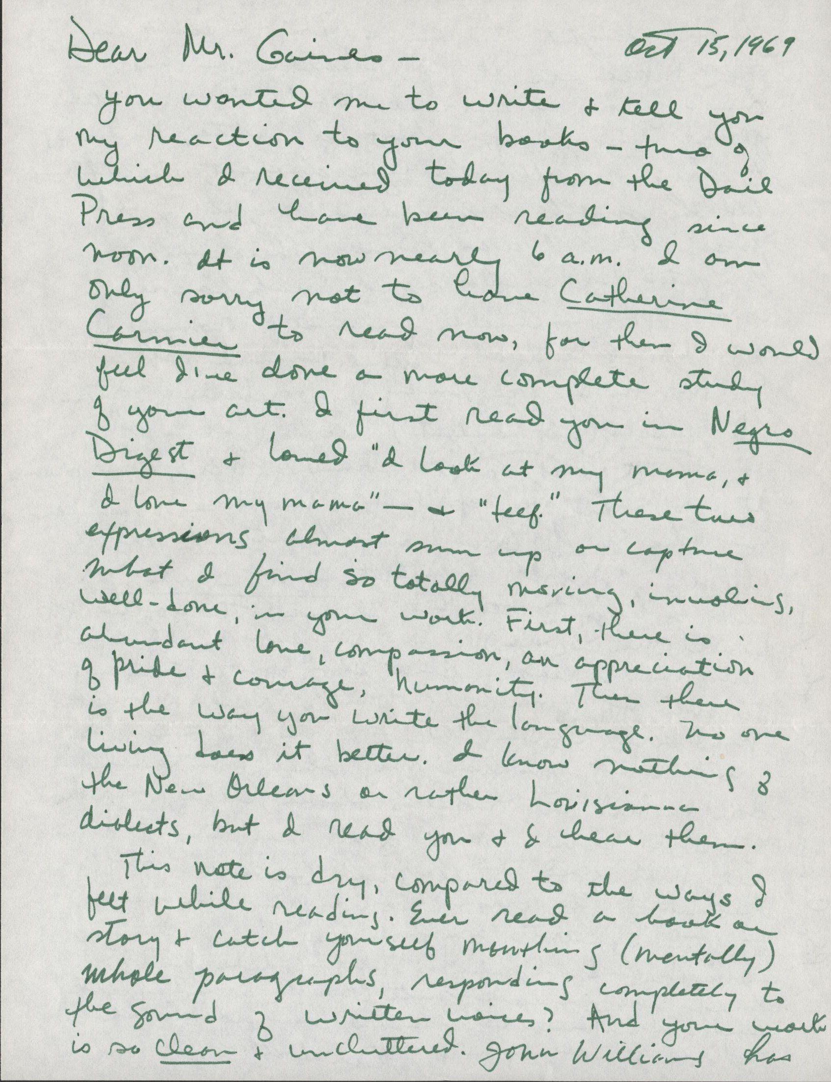 Alice Walker's letter October 15, 1969
