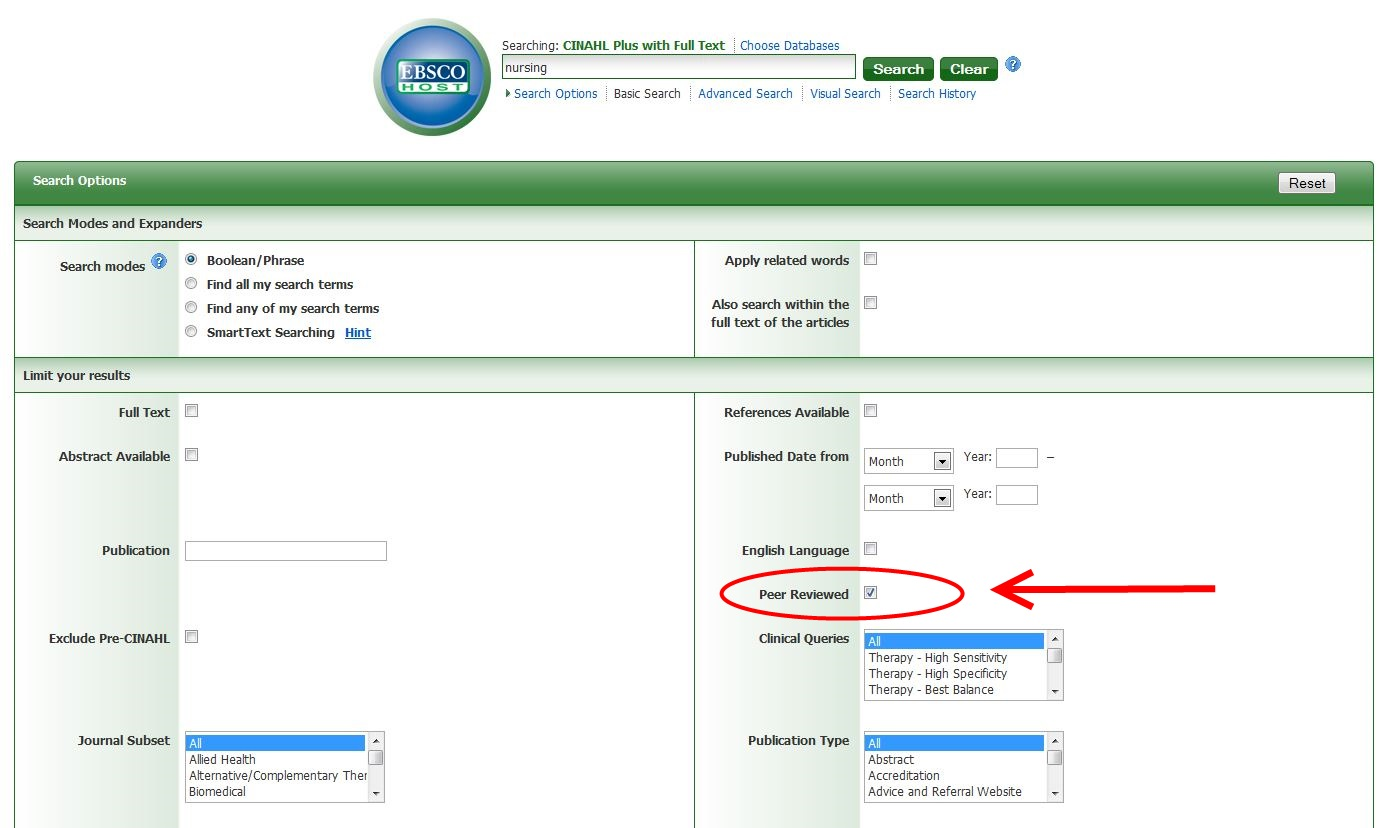 How to find peer reviewed articles in CINAHL Complete Screenshot