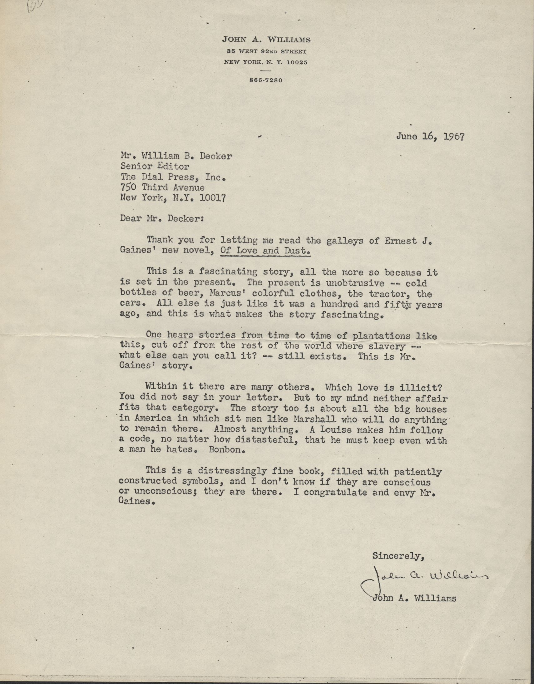 John A. Williams' letter on Of Love and Dust